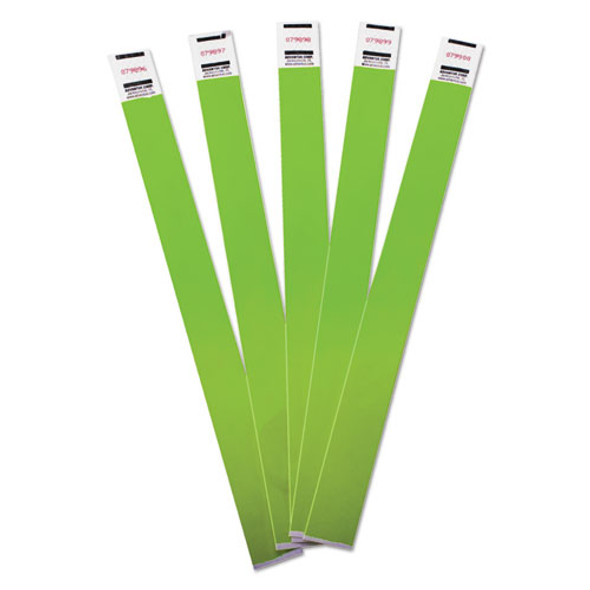 Crowd Management Wristbands, Sequentially Numbered, 9 3/4 X 3/4, Green, 500/pack