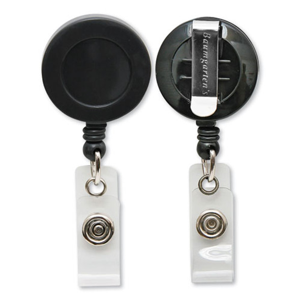 """Id Card Reel With Belt Clip, 30"""" Extension, Black"""