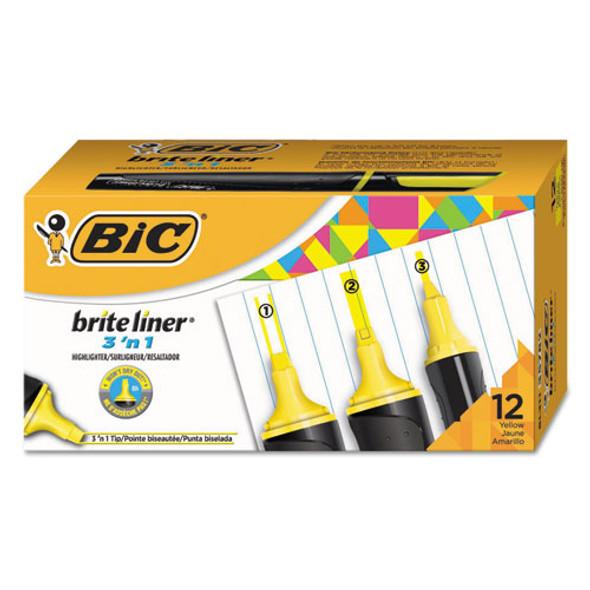 Brite Liner 3 'n 1 Highlighters, 3 'n 1 Chisel Tip, Yellow, Dozen