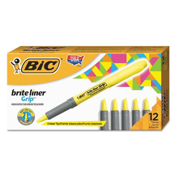 Brite Liner Grip Pocket Highlighter , Chisel Tip, Fluorescent Yellow, Dozen