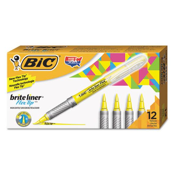 Brite Liner Flex Tip Highlighters, Brush Tip, Yellow, Dozen