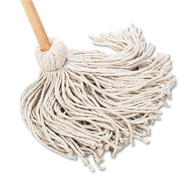 "Deck Mop, 54"" Wooden Handle, 20oz Cotton Fiber Head, 6/carton"