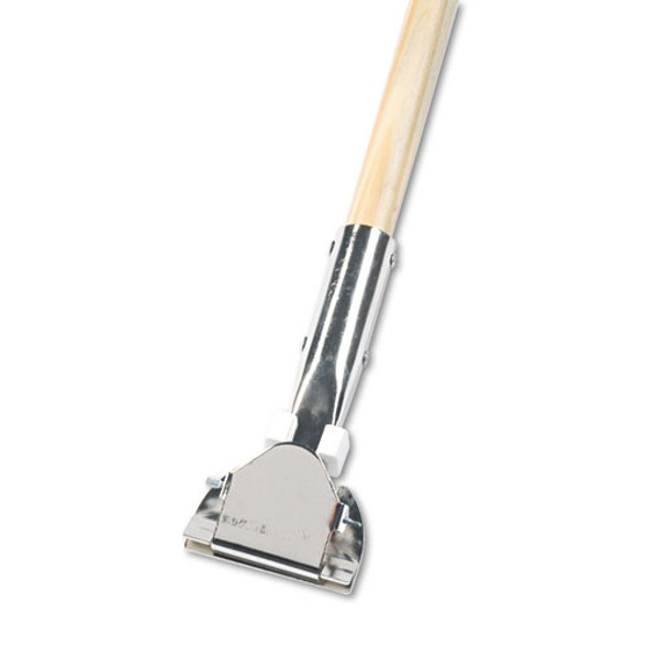 """Clip-on Dust Mop Handle, Lacquered Wood, Swivel Head, 1"""" Dia. X 60in Long"""