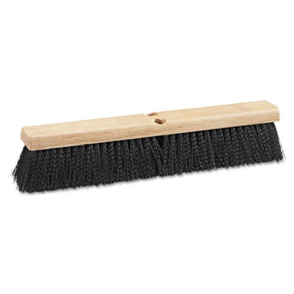 "Floor Brush Head, 18"" Wide, Black, Medium Weight, Polypropylene Bristles"