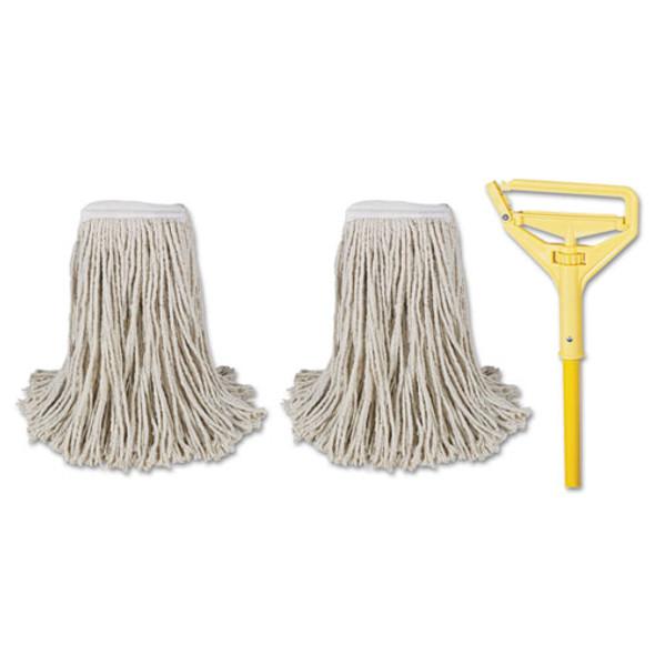 "Cut-end Mop Kits, #24, Natural, 60"" Metal/plastic Handle, Yellow"