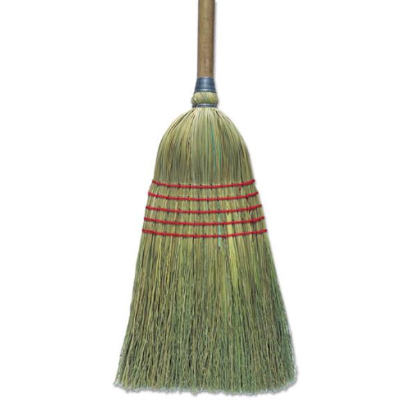 "Corn Broom, 56"", Lacquered Wood Handle, Natural, 6/carton"