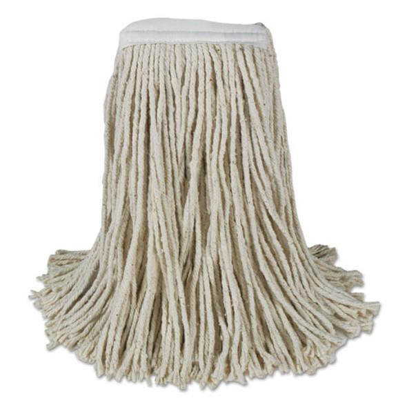 Banded Cotton Mop Heads, Cut-end, 20oz, White, 12/carton