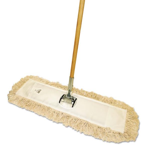 "Cut-end Dust Mop Kit, 24 X 5, 60"" Wood Handle, Natural"