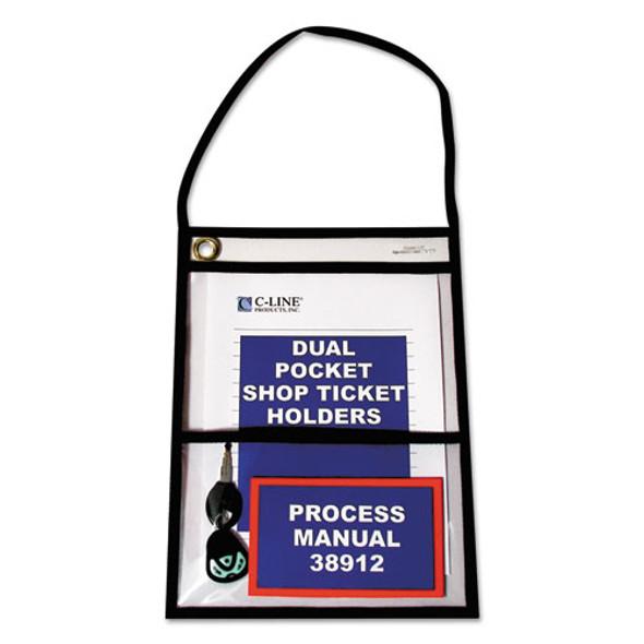 2-pocket Shop Ticket Holder W/strap, Black Stitching, 150-sheet, 9 X 12, 15/box