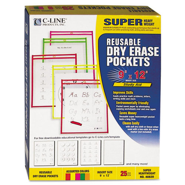 Reusable Dry Erase Pockets, 9 X 12, Assorted Neon Colors, 25/box