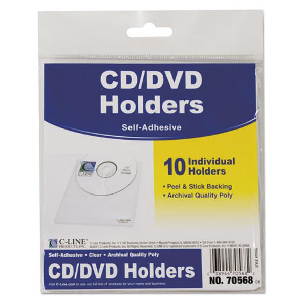 Self-adhesive Cd Holder, 5 1/3 X 5 2/3, 10/pk