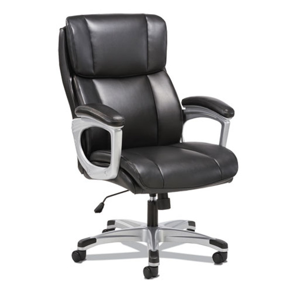 3-fifteen Executive High-back Chair, Supports Up To 225 Lbs., Black Seat/black Back, Aluminum Base