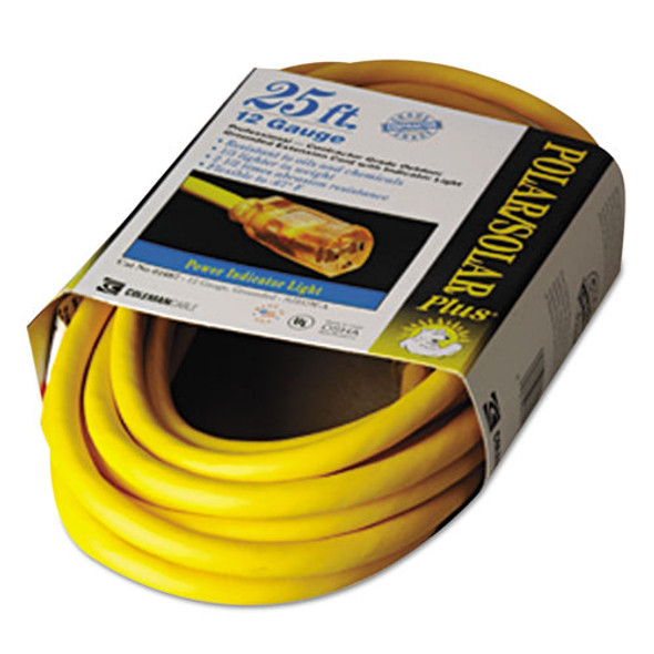 Polar/solar Indoor-outdoor Extension Cord With Lighted End, 25ft, Yellow