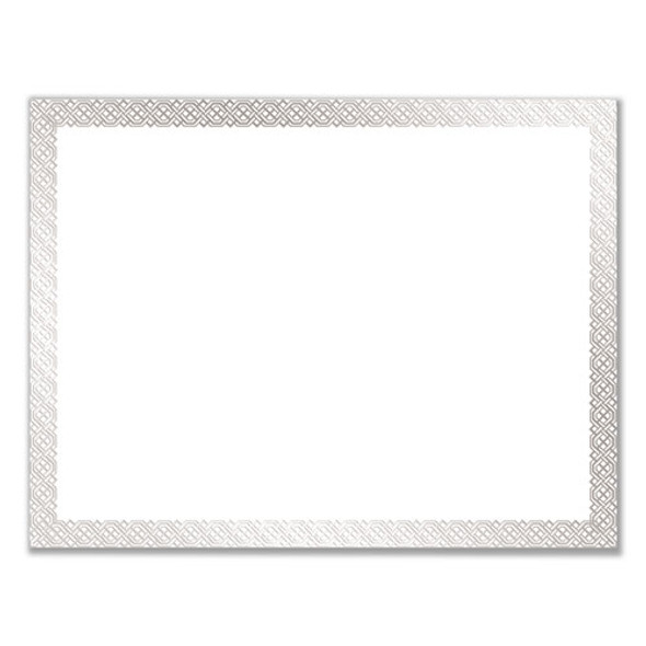Foil Border Certificates, 8.5 X 11, White/silver, Braided, 15/pack