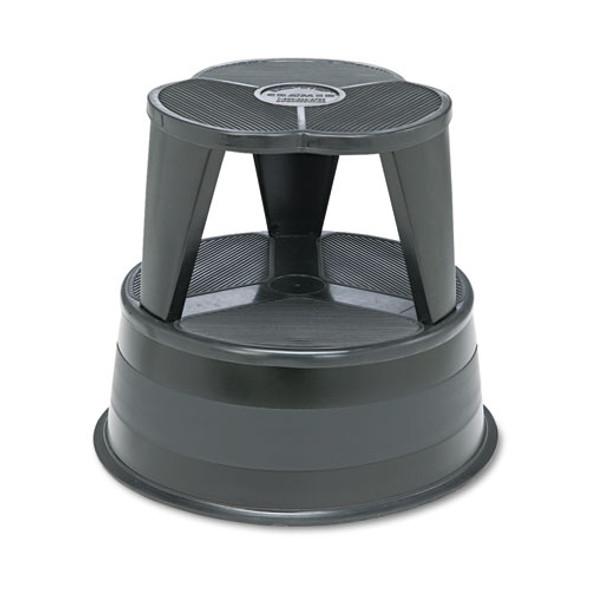 """Kik-step Steel Step Stool, 2-step, 350 Lb Capacity, 16"""" Dia. X 14.25h, Black"""