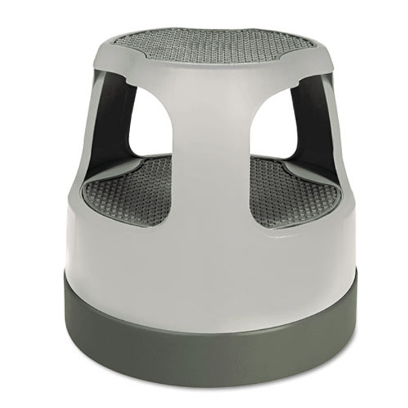 """Scooter Stool, Round, 2-step, 15"""", Step And Lock Wheels, 300 Lb Capacity, Gray"""