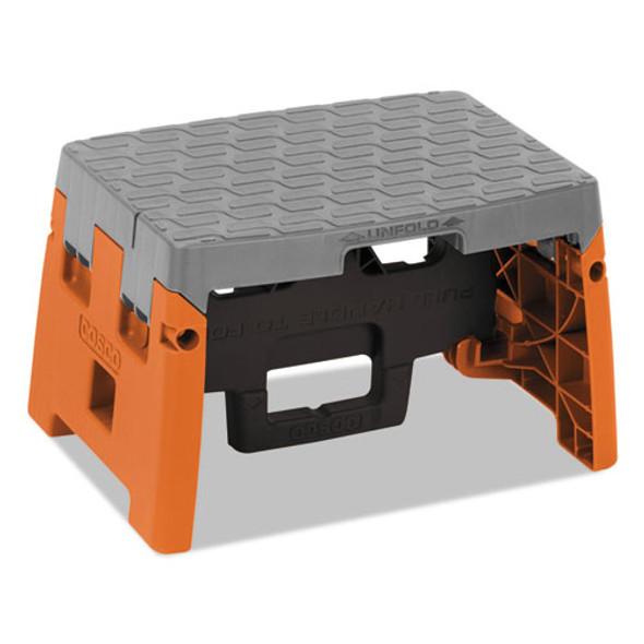 "Folding Step Stool, 1-step, 300 Lb Capacity, 8.5"" Working Height, Orange/gray"