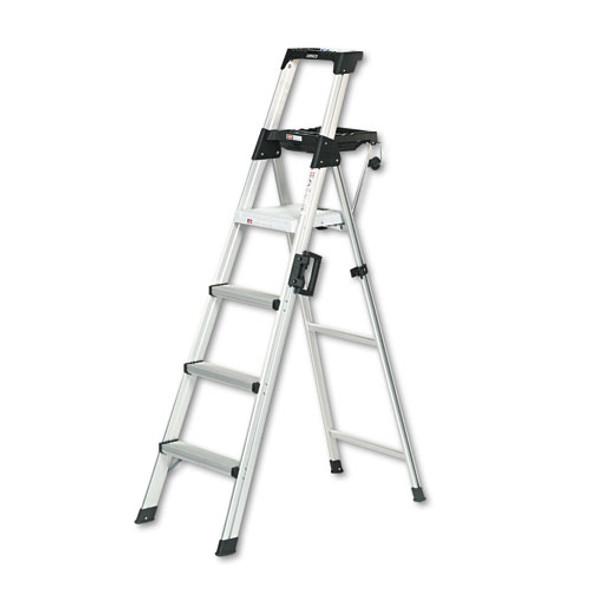 Signature Series Aluminum Step Ladder, 6 Ft Working Height, 300 Lbs Capacity, 4 Step, Aluminum