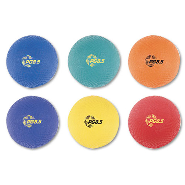 Playground Ball Set, Nylon, Assorted Colors, 6/set