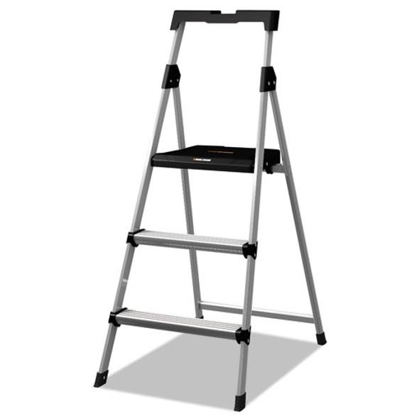 Aluminum Step Stool Ladder, 3-step, 225 Lb Capacity, 20w X 31 Spread X 47h, Silver