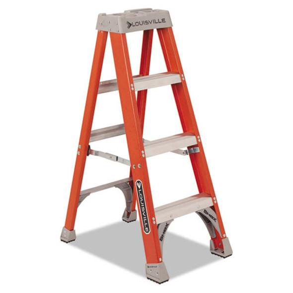"Fiberglass Heavy Duty Step Ladder, 23"" Working Height, 300 Lbs Capacity, 3 Step, Orange"