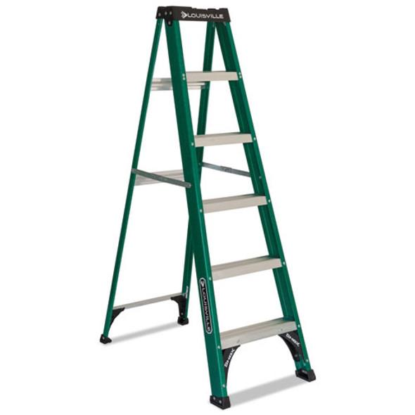 Fiberglass Step Ladder, 8 Ft Working Height, 225 Lbs Capacity, 5 Step, Green/black
