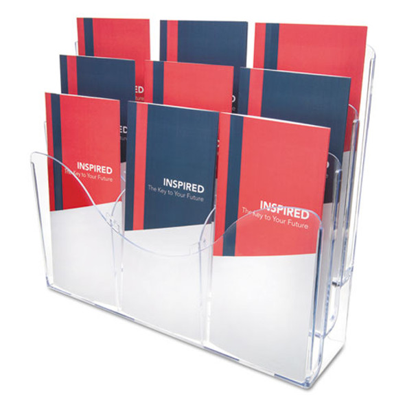 3-tier Document Organizer W/6 Removable Dividers, 14w X 3.5d X 11.5h, Clear
