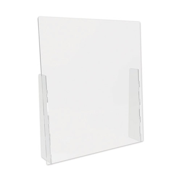 """Counter Top Barrier With Full Shield, 31.75"""" X 6"""" X 36"""", Polycarbonate, Clear, 2/carton"""