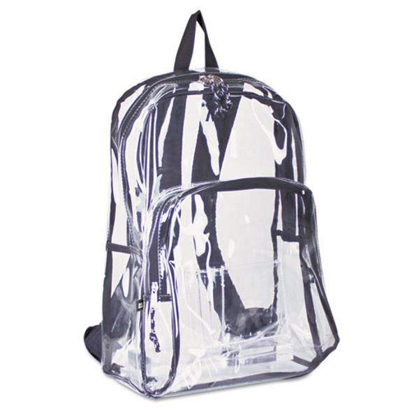 Backpack, Pvc Plastic, 12 1/2 X 5 1/2 X 17 1/2, Clear/black