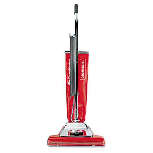 """Tradition Bagless Upright Vacuum, 16"""" Wide Path, 18.5 Lb, Red"""