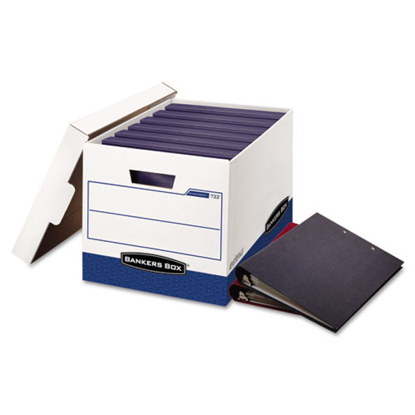 "Binderbox Storage Boxes, Letter Files, 13.13"" X 20.13"" X 12.38"", White/blue, 12/carton"