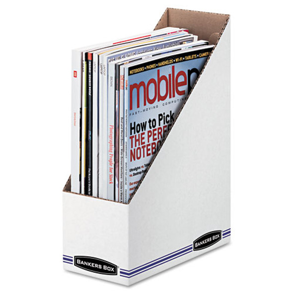Corrugated Cardboard Magazine File, 4 X 9 1/4 X 11 3/4, White, 12/carton