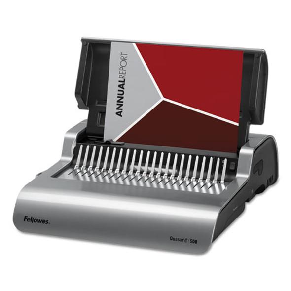 Quasar 500 Electric Comb Binding System, 16 7/8 X 15 3/8 X 5 1/8, Metallic Gray