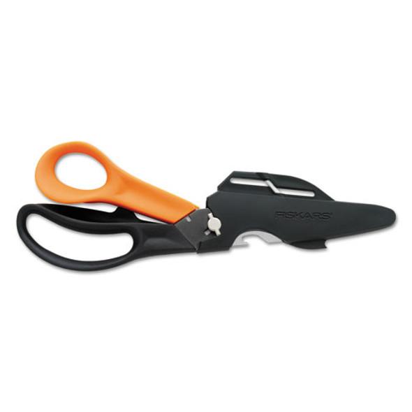 "Cuts+more Scissors, 9"" Long, 3.5"" Cut Length, Black/orange Offset Handle"
