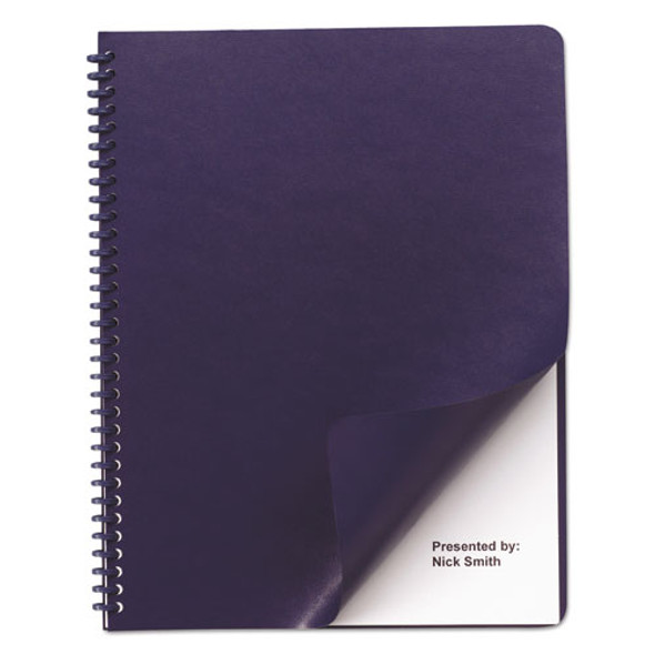 Leather Look Presentation Covers For Binding Systems, 11.25 X 8.75, Navy, 100 Sets/box