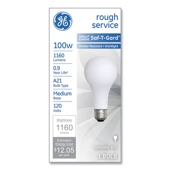 Rough Service Incandescent Worklight Bulb, A21, 100 W, 1,160 Lm