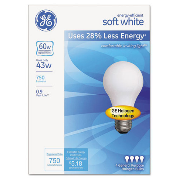 Dimmable Halogen A-line Bulb, 43 W, Soft White, 4/pack