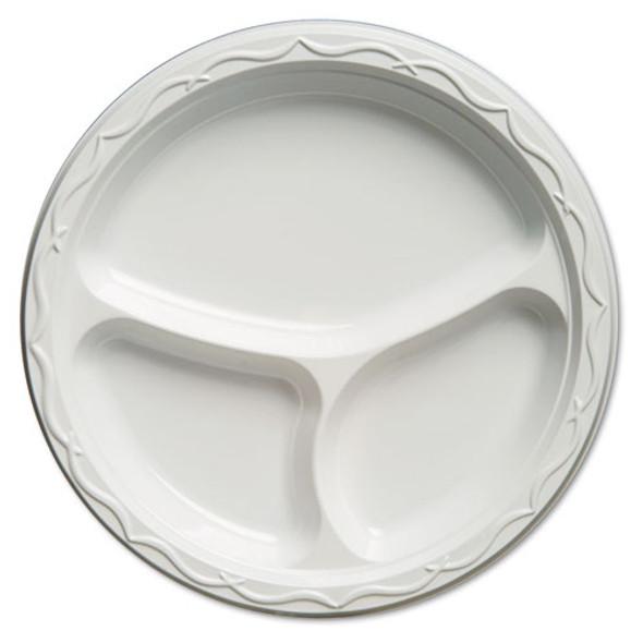Aristocrat Plastic Plates, 10 1/4 Inches, White, Round, 3 Compartments, 125/pack