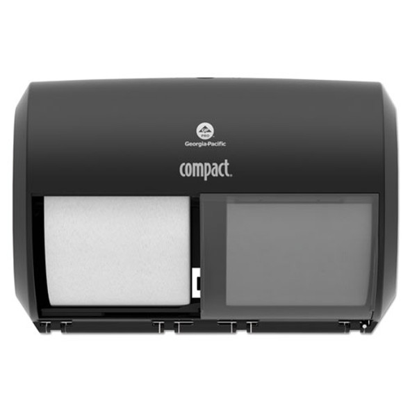 Compact Coreless Side-by-side 2-roll Tissue Dispenser, 11.5 X 7.625 X 8, Black