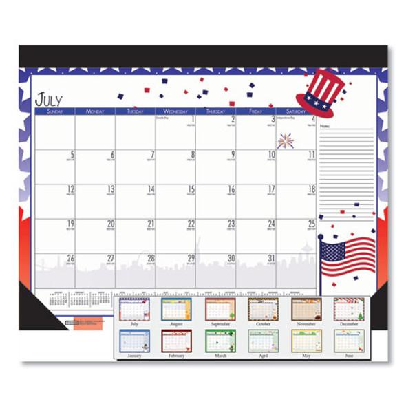 100% Recycled Seasonal Academic Desk Pad Calendar, 22 X 17, 2020-2021