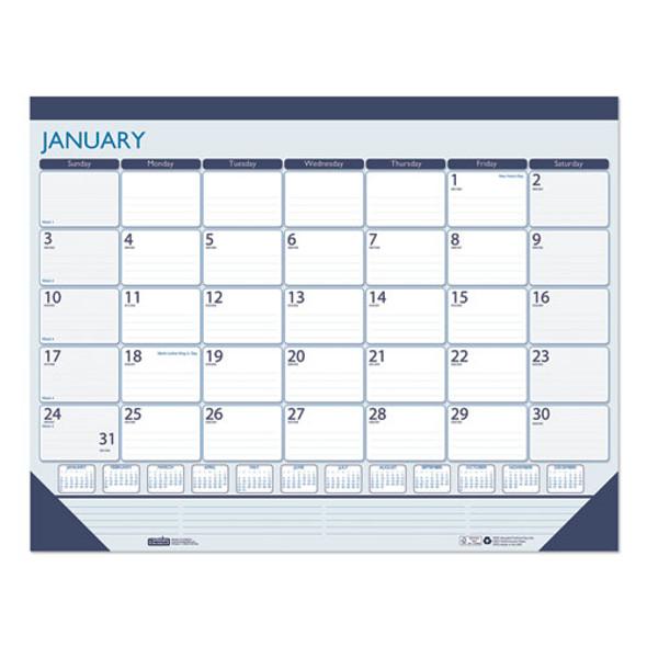 100% Recycled Contempo Desk Pad Calendar, 22 X 17, Blue, 2021