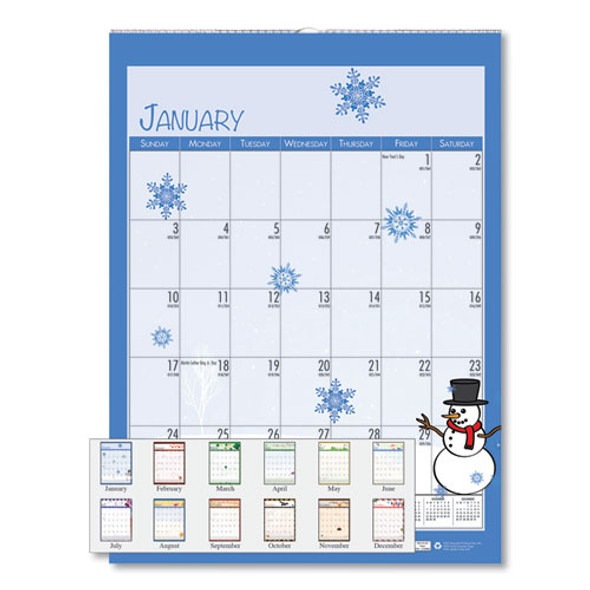 100% Recycled Seasonal Wall Calendar, 12 X 16.5, 2021