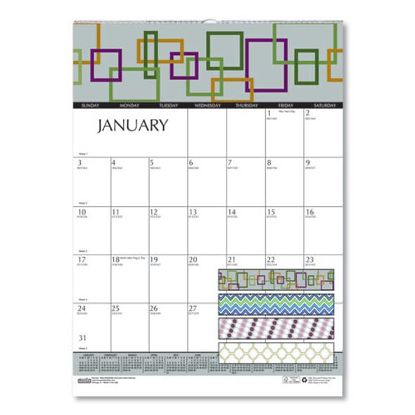 100% Recycled Geometric Wall Calendar, 12 X 16.5, 2021