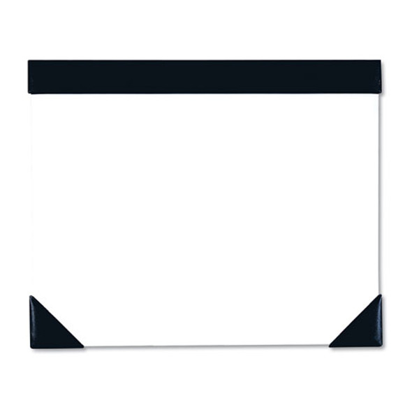 Executive Doodle Desk Pad, 25-sheet White Pad, Refillable, 22 X 18, Black/silver