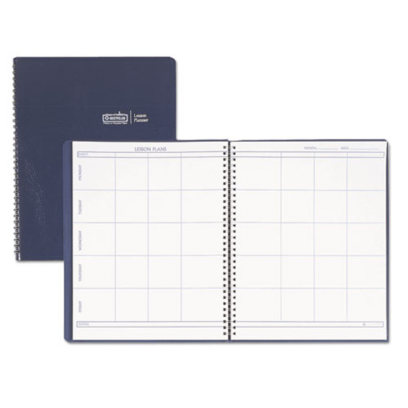 Lesson Plan Book, Embossed Leather-like Cover, 11 X 8 1/2, Blue