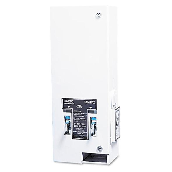 Dual Sanitary Napkin/tampon Dispenser, Coin, 11 1/8 X 7 5/8 X 26 3/8, White
