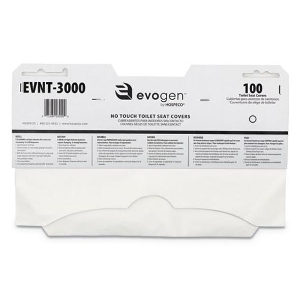 """Evogen No Touch Toilet Seat Covers, 15 1/2"""" X 9 1/4"""", White, 3000/carton"""