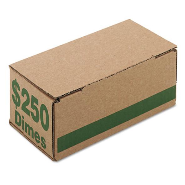 Corrugated Cardboard Coin Storage W/denomination Printed On Side, Green