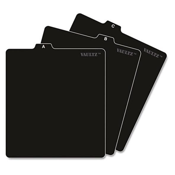 A-z Cd File Guides, 1/3-cut Top Tab, A To Z, 5 X 5.75, Black, 26/set