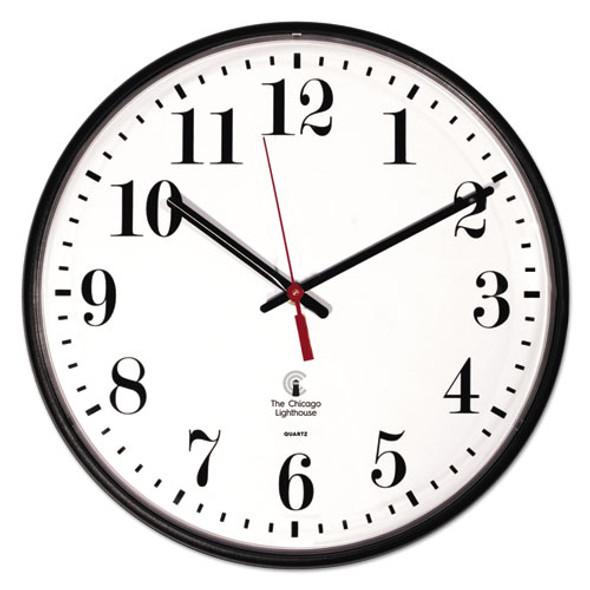 """Quartz Slimline Clock, 12.75"""" Overall Diameter, Black Case, 1 Aa (sold Separately)"""